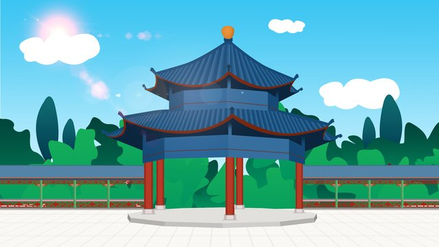 Ancient architecture octagonal tower pavilion llustration image illustration image