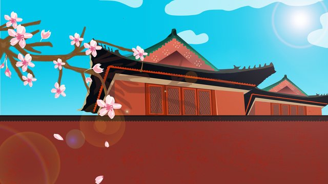 chinese style forbidden city ancient architecture illustration llustration image illustration image