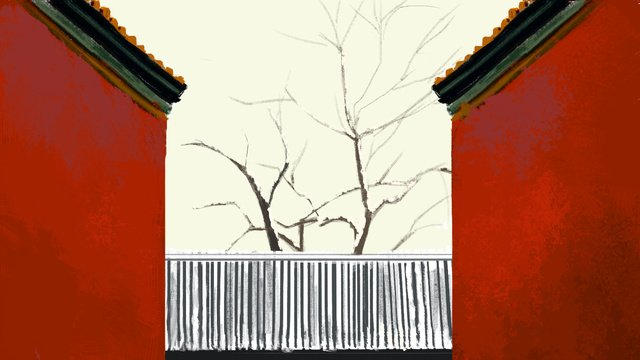 Simple atmosphere watercolor ancient architecture dead tree red wall illustration llustration image illustration image