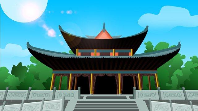 고대 건물 레트로 파빌리온 삽화 소재 삽화 이미지