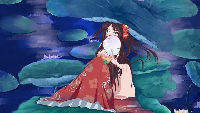 lotus fairy little girl leaf illustration imej keterlaluan