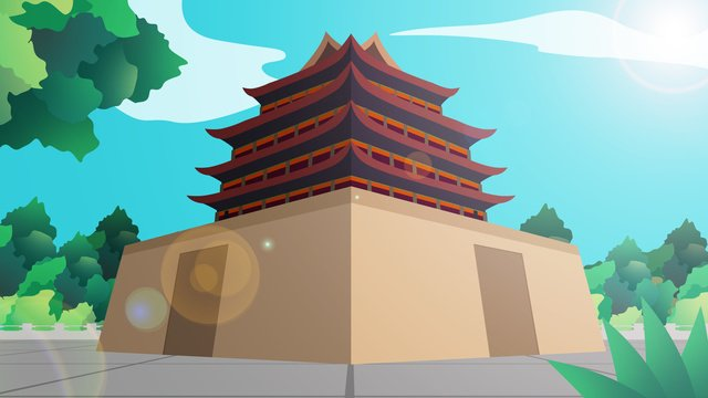 ancient building tower gate city llustration image