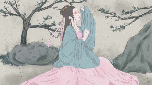 Chinese style ink painting ancient costume hanfu beauty, Ancient Figure, Costume Beauty, Chinese Style illustration image