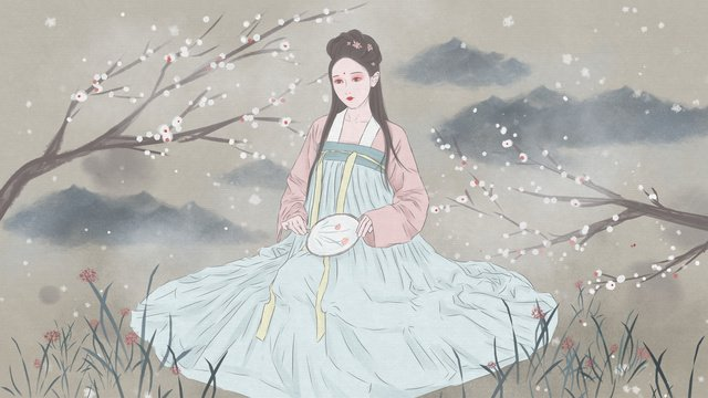 Ancient style figure illustration chinese painting strokes apricot flower tree under the costume beauty, Ancient Figure, Costume Beauty, Hanfu illustration image