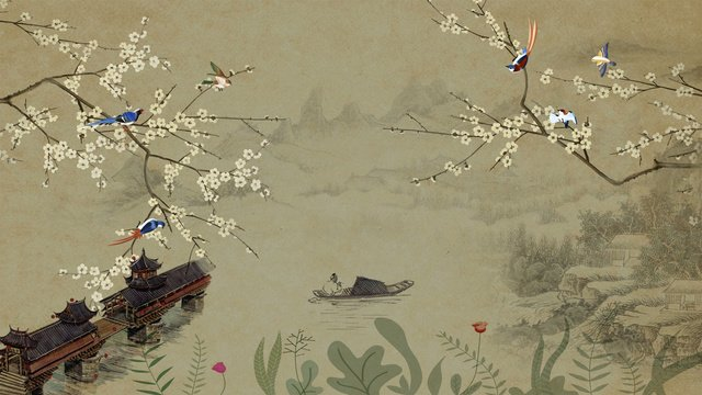 Ancient flowers and birds chinese scenery hand drawn illustration, Ancient Flowers And Birds, Chinese Style, One Leaf Boat illustration image