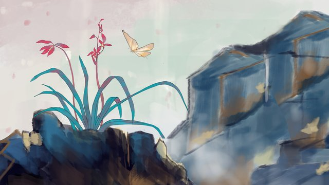 ancient flowers birds empty valley llustration image