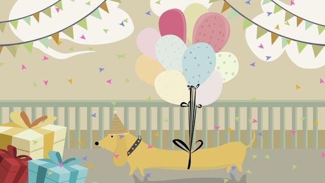 逗人喜愛的寵物禮物狗氣球手拉的例證 插畫素材 插畫圖片