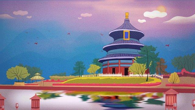 풍경 건물 고대 건축기도의 홀 절경의 즐거움 삽화 소재
