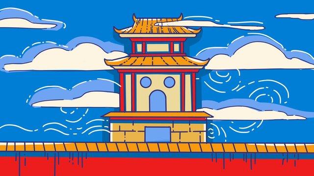 पुरातन वास्तुकला रचनात्मक नीला लाल स्ट्रोक विपरीत रंग शहर की दीवार हाथ से चित्रित चित्रण चित्रण छवि