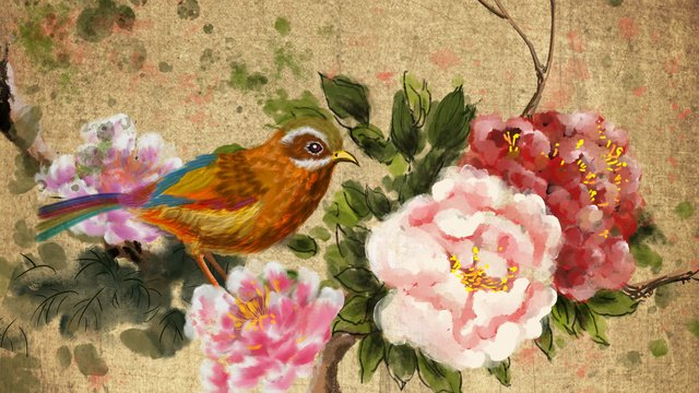 ancient flowers and birds beautiful chinese style painting artistic conception spring peony colorful bird llustration image illustration image