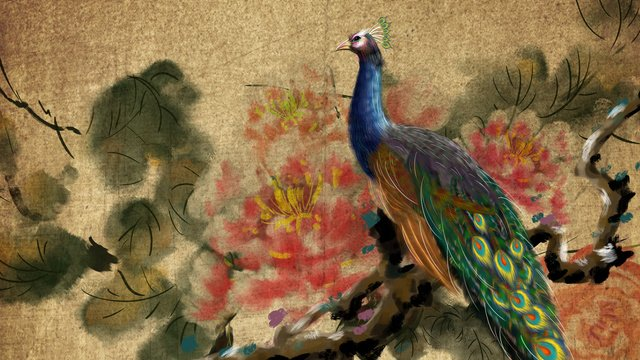Ancient flowers and birds chinese style peony rice paper ink vintage old peacock, Antiquity, Birds And Flowers, Chinese Style illustration image