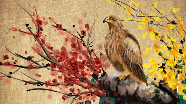 ancient flowers and birds chinese style painting lamei plum rockery goshawk retro llustration image illustration image