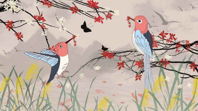 ancient flower bird and plum koi carp illustration llustration image