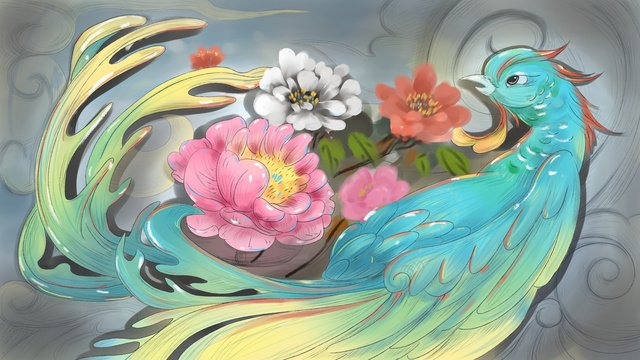 ancient flowers birds phoenixes and peony llustration image illustration image