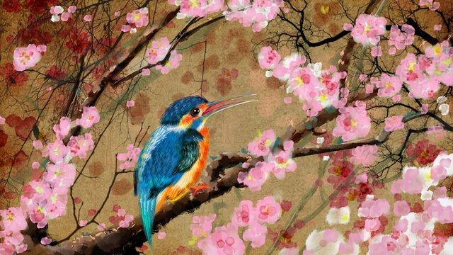 古代の花と花梅の花古いレトロライスペーパー中国風桃の花の枝 イラスト素材 イラスト画像