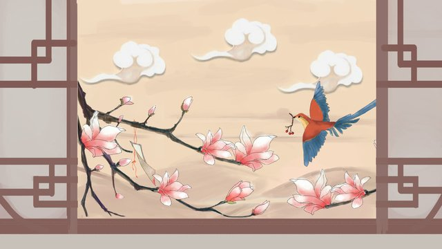 ancient flower and bird window illustration llustration image illustration image