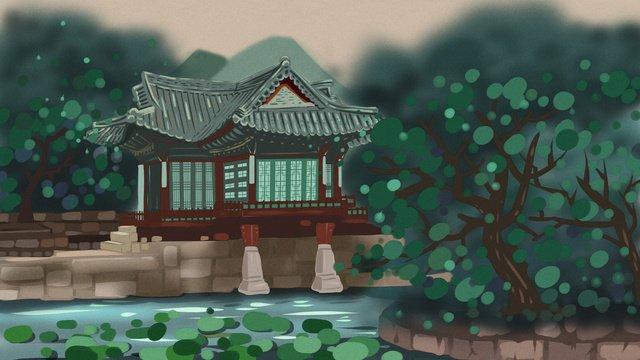 Original illustration of archaic building pond tree and pavilion, Antiquity, Building, Pavilion illustration image