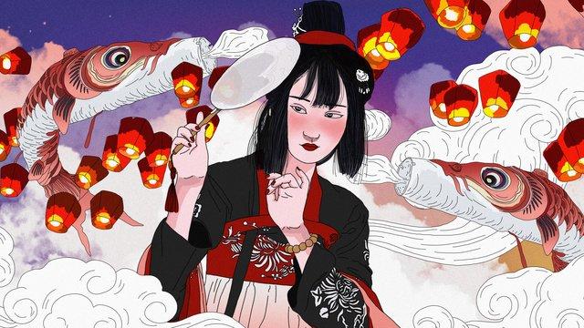 original antique character flying fish lanterns girl illustration llustration image