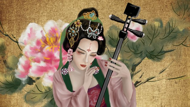 Ancient style figure peony chinese retro old flower painting prostitute, Antiquity, Character, Peony illustration image