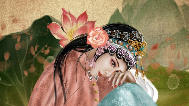 Ancient style figure rice paper retro old country quintessential beauty lotus opera illustration, Antiquity, Character, Rice Paper illustration image