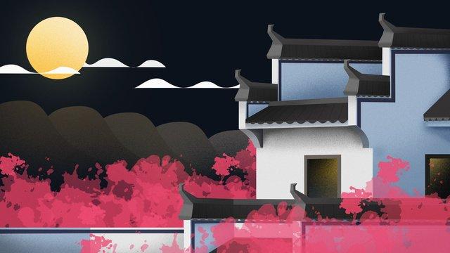 antiquity Chinese style building Ancient construction, House, Huizhou Architecture, Blue Tile illustration image