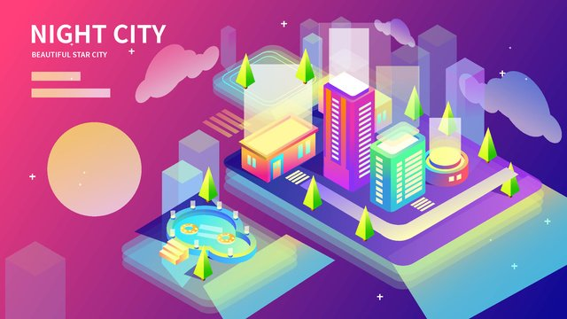 2 5d midnight city neon building life gradient illustration llustration image