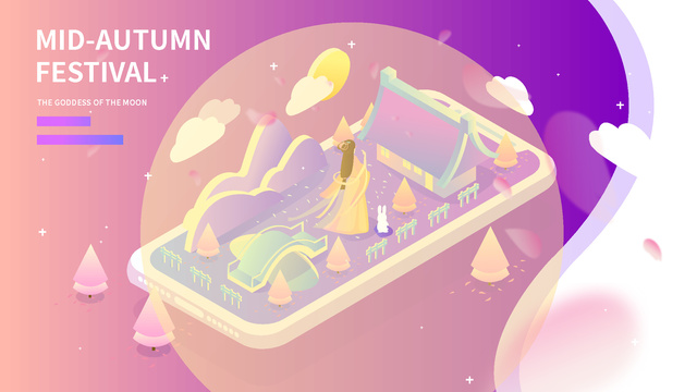 2 5d ancient wind mid autumn festival 嫦娥玉兔 gradient night view illustration llustration image illustration image