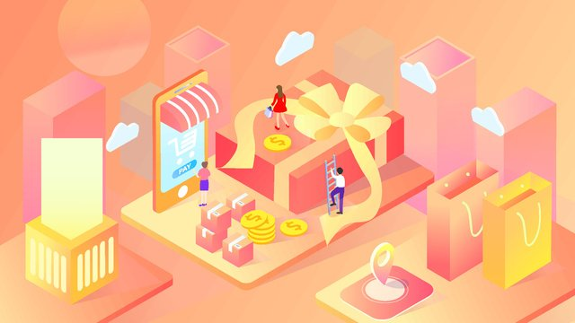 2.5d taobao shopping festival double eleven online payment gradient illustration, App Splash Screen, Startup Page, Mobile Phone With Picture illustration image