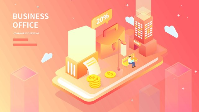 2.5d financial technology business data investment gradual illustration, App Splash Screen, Startup Page, Mobile Phone With Picture illustration image