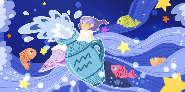 twelve constellation aquarius girl with small fish surf llustration image illustration image