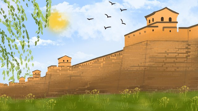 ancient style architectural city wall atmosphere realistic hand drawn illustration llustration image illustration image