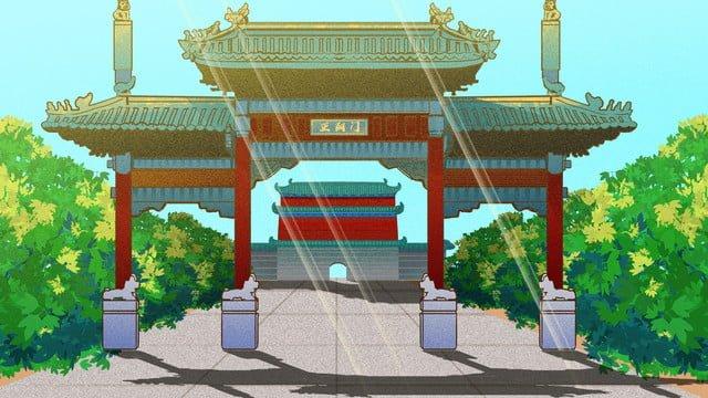 zhengyangmen jiucheng 올드 베이징 삽화 소재 삽화 이미지