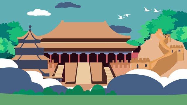 고대 건축의 자금성 구석 삽화 소재