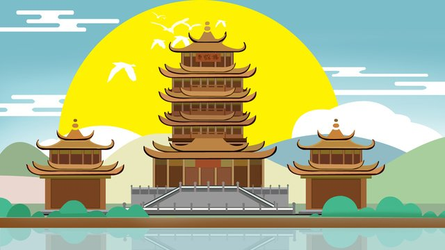 wuhan yellow crane tower in ancient architecture llustration image illustration image