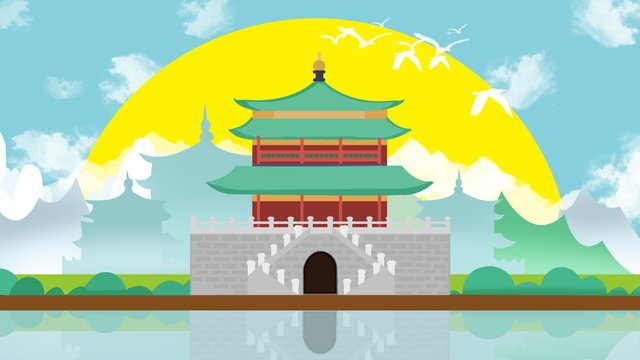xian ancient building of architecture llustration image illustration image