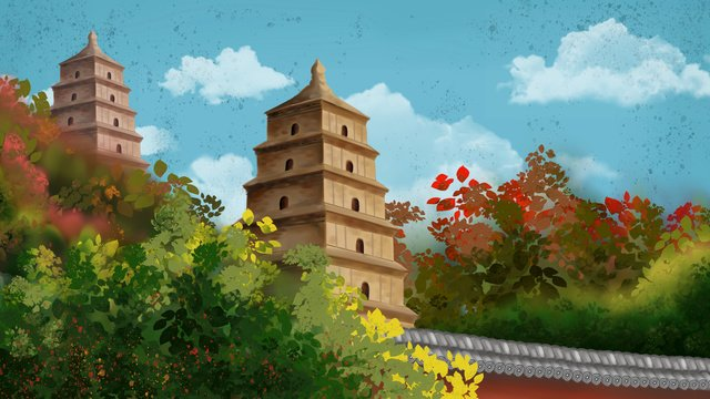 ancient architecture xian big wild goose pagoda mangrove white clouds blue sky wall llustration image illustration image