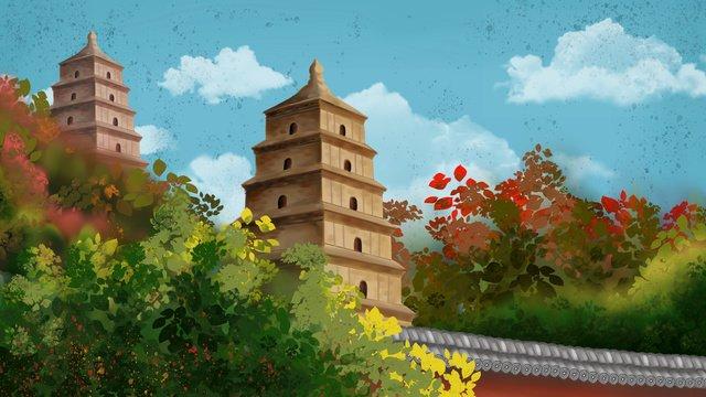 古代建築西安ビッグワイルドグースパゴダマングローブ白い雲青い空壁古代建築  西安  ワイルドグースパゴダ PNGおよびPSD illustration image