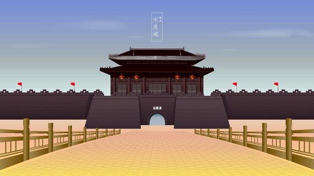 ancient architecture yangzhou songjiacheng llustration image