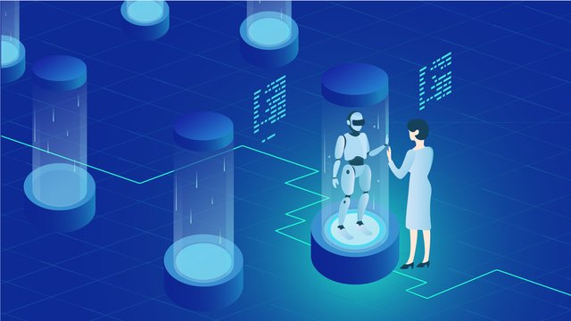 Artificial intelligence technology future sci-fi robot blue gradient love, Artificial Intelligence, Technology, Future illustration image