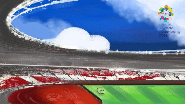 एशियन गेम्स ब्लू स्काई और व्हाइट क्लाउड ग्रीन रनवे स्टेडियम चित्रण छवि