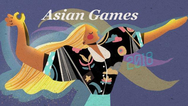 Hình minh họa retro tuyệt đẹp của thể dục dụng cụ châu ÁĐại  Hội  Thể PNG Và PSD illustration image