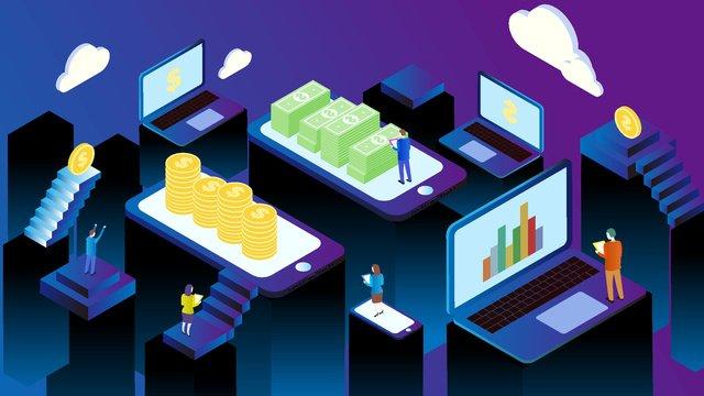 Технология атмосферного будущего 2 5d financial trading cartoon flat Иллюстрация Ресурсы иллюстрации