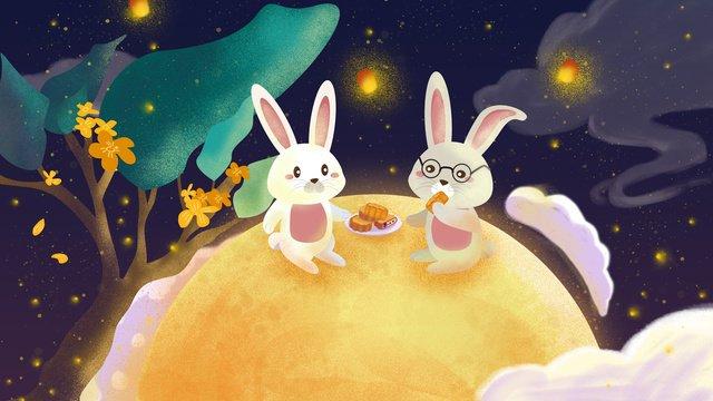 cute traditional mid autumn festival rabbit eating moon cake illustration llustration image illustration image
