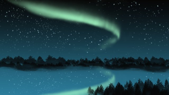 Beautiful aurora starry charm, Aurora, Starry Sky, Beautiful illustration image
