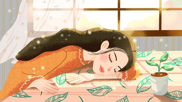An illustration of a girl who is sleepy in the sun on early autumn morning, Autumn Day, Early Morning, Sunlight illustration image