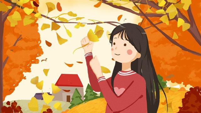 शरद ऋतु कानाफूसी चित्रण लड़की और इलाज चित्रण छवि