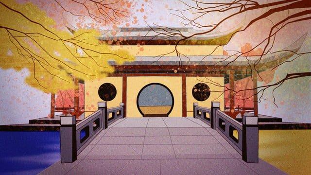 가을 속삭임 고대 건물 경치 삽화 소재