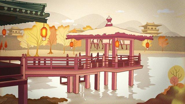 秋こんにちは秋、古代都市の風景 イラストレーション画像