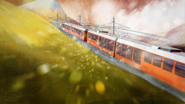 가을 속삭임 유명한 전기 빨간 관광 열차 삽화 소재 삽화 이미지