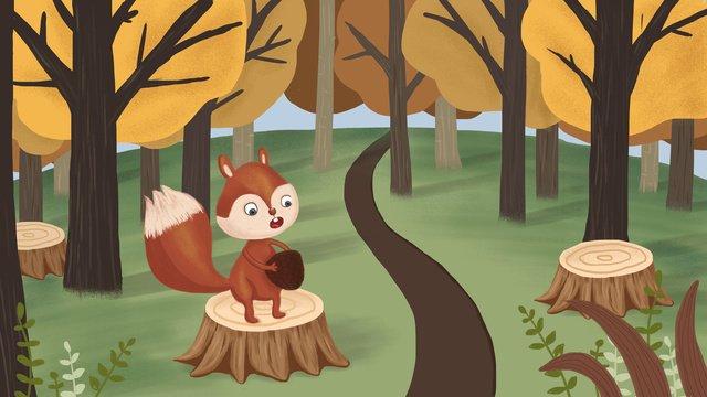 Hello autumn original illustration, Autumn Forest, Squirrel, Pine Cone illustration image